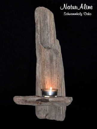 Schwemmholz Wanddeko Kerzenhalter 362 Bild 1